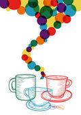 Concepto conjunto colorido café — Vector de stock