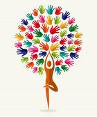 India yoga hands tree — Stock Vector