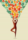 India yoga human tree — Stock Vector
