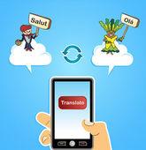 Mobile web translate app concept — Stock Vector