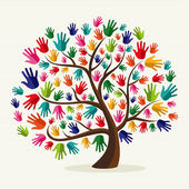 Colorful solidarity hand tree — Stock Vector