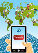 Global translation app concept — Stock Vector