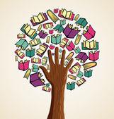 Art hand books tree — Stock Vector