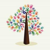 Colorful solidarity hand prints tree — Stock Vector