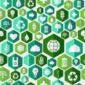 绿色环保图标无缝图案背景 — 图库矢量图片