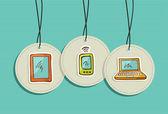 Conjunto colgante iconos de redes sociales — Vector de stock