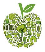 Složení ovoce s ekologických ikon — Stock vektor