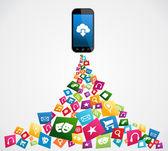 Applications mobiles smartphone — Vecteur