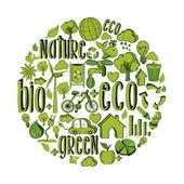 Green circle with environmental icons — Stock Vector