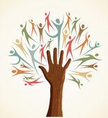 Diversity human hand tree set — Stock Vector