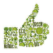 зеленый палец вверх с экологической иконки — Cтоковый вектор