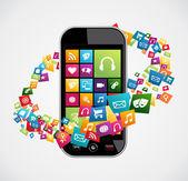 Akıllı telefon mobil uygulamalar — Stok Vektör