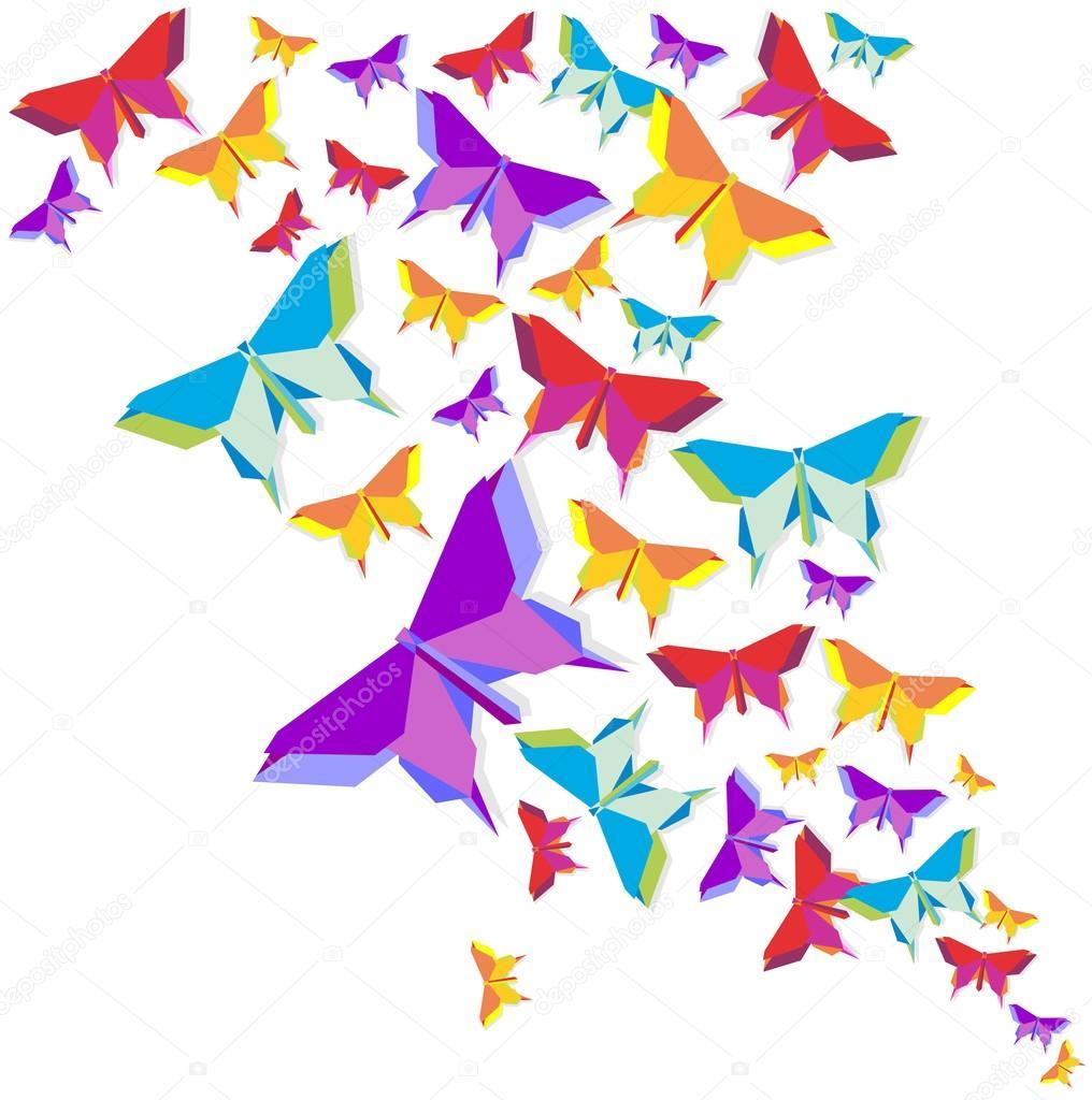 Оригами бабочки композиция в