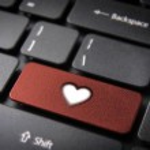 Red heart keyboard key, Love background — Stock Photo