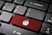 Red Fruit keyboard key, Love background — Stock Photo