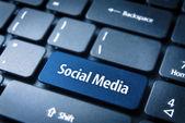Blue Social Media keyboard key, Social background — Foto de Stock