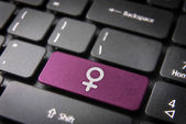 Pink Female keyboard key sign, Gender background — Stock Photo