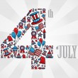 4th july independence day icons — Vettoriale Stock #29242409