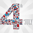 Vettoriale Stock : 4th july independence day icons