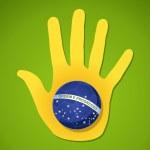 Brazil soccer championship human hand flag ball shape — Stock Vector