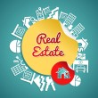 Real estate circle, vintage text house magnifying glass symbols. — Stock Vector