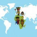 Africa people cartoons world map diversity illustration. — Stock Vector