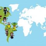 America people cartoons, world map diversity illustration. — Stock Vector