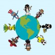 Постер, плакат: Diversity people cartoons over world map