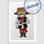 Uruguayan cartoon person postal stamp — Stock Vector