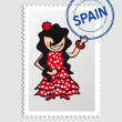 Spanish cartoon person postal stamp — Stock Vector