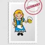German cartoon person postal stamp — Stock Vector