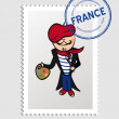 French cartoon person postal stamp — Stock Vector