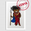 Kenyan cartoon person postal stamp — Stock Vector