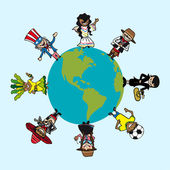 Diversity people cartoons over world map — Stock Vector
