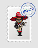 Mexican cartoon person postal stamp — Stock Vector
