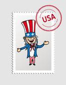 American cartoon person postal stamp — Stock Vector