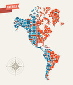 Mapa ameryki figur geometrycznych — Wektor stockowy