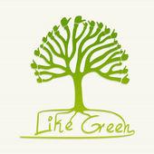 Pulgar verde ilustración del árbol — Vector de stock