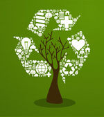 Green recycle concept tree — Stock Vector