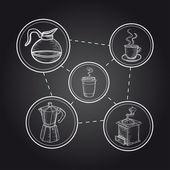 コーヒー要素黒板図 — ストックベクタ