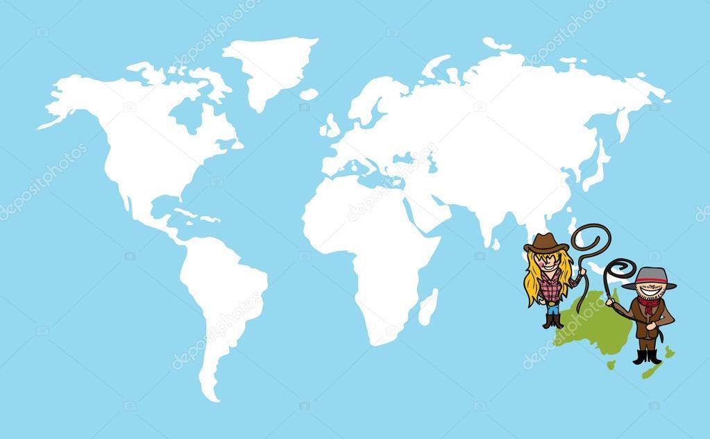 Mappa mondiale del popolo australiano diversità concetto