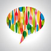 Cutlery speech bubble illustration — Stock Vector