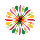 Cutlery circle shape illustration — Stock Vector