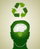Think Green recycling man — Stock Vector
