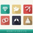 Wedding flat icon set. — Stock Vector