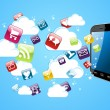 Cloud storage glossy app icons. — Vektorgrafik