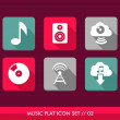 Music flat icons set. — Stock Vector