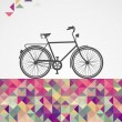 Постер, плакат: Retro hipsters bicycle geometric elements
