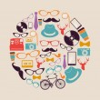 Vintage hipsters icons circle. — Stock Vector