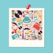 Colorful retro hipsters icons photo. — Stock Vector